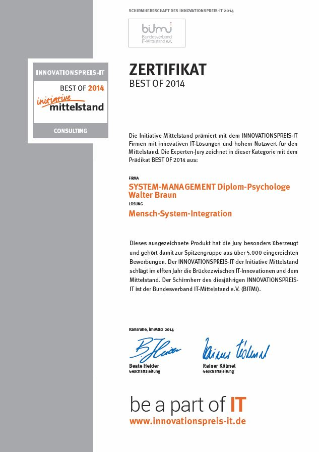 Innovationspreis Zertifikat 2014